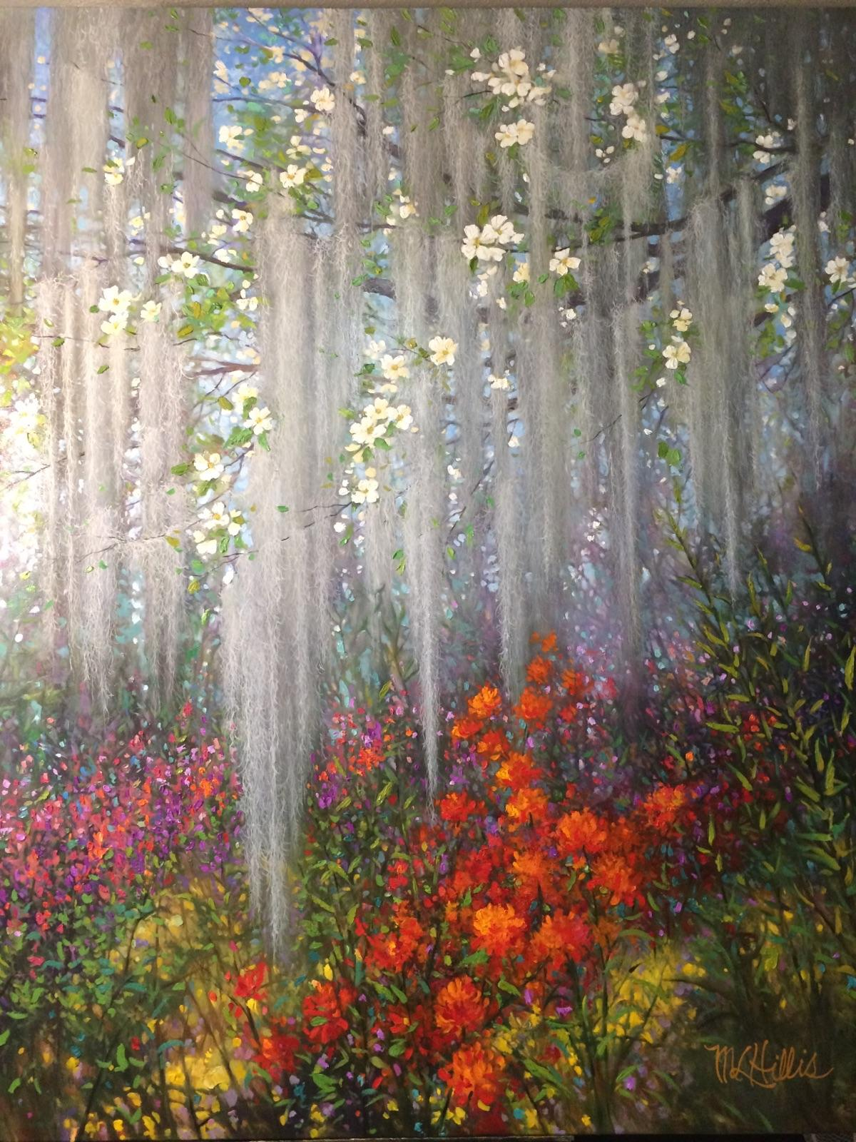 "Georgia scene with Dogwood, Spanish Moss and Azaleas. 60"" x 72"" Oils"